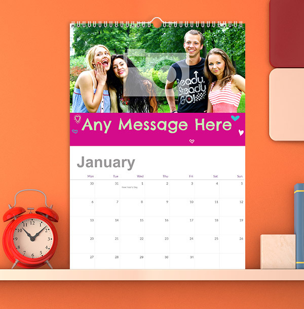 Colourful Personalised Photo & Message Calendar
