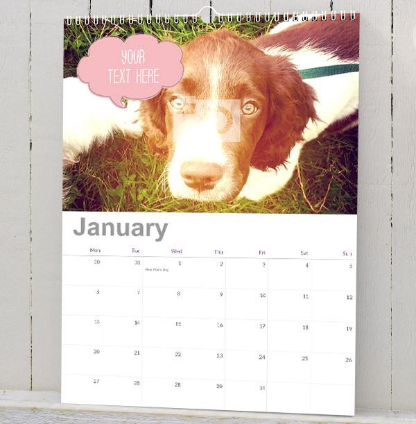 Photo & Speech Bubble Personalised Calendar