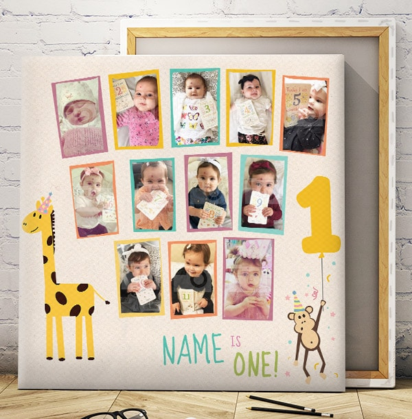 12 Month Baby Photo Canvas - Square