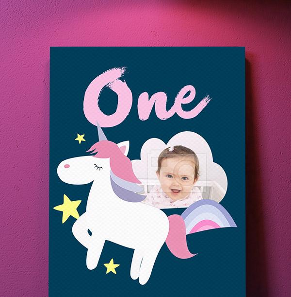 1st Birthday Unicorn Photo Canvas - Portrait