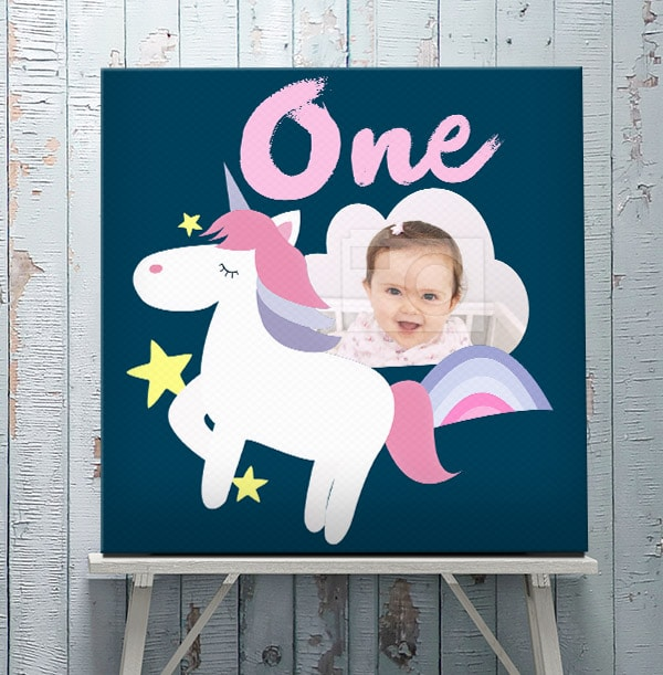 1st Birthday Unicorn Photo Canvas - Square