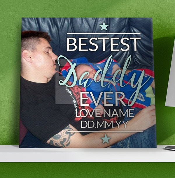 Bestest Daddy Ever Photo Canvas Print - Square