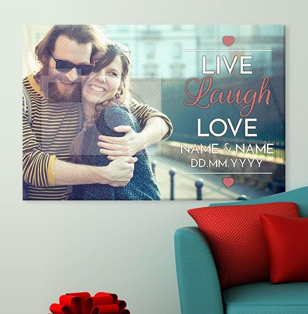 Live, Laugh, Love Full Photo Upload Canvas Print - Landscape