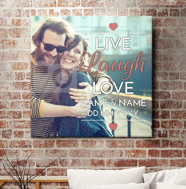 Live, Laugh, Love Full Photo Upload Canvas Print - Square