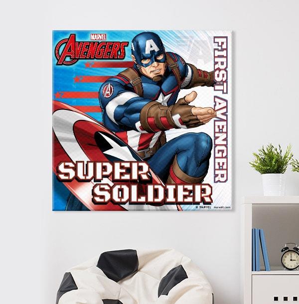 Captain America Personalised Square Canvas