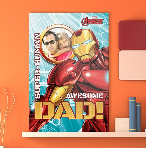 Iron Man Awesome Dad Photo Canvas