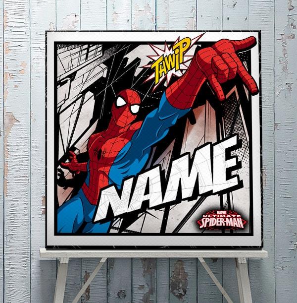 Spiderman Personalised Square Canvas