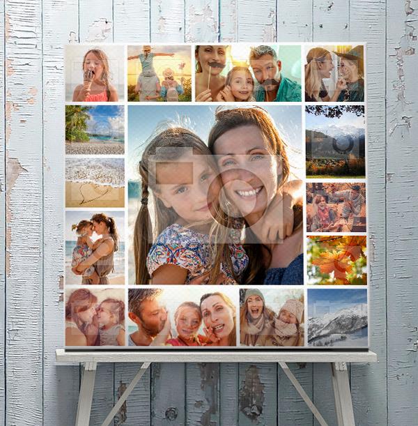 Square 15 Photo Collage Canvas