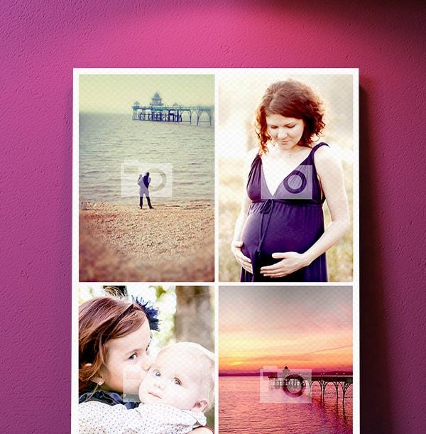 4 Photo Canvas Print - Portrait, White Border