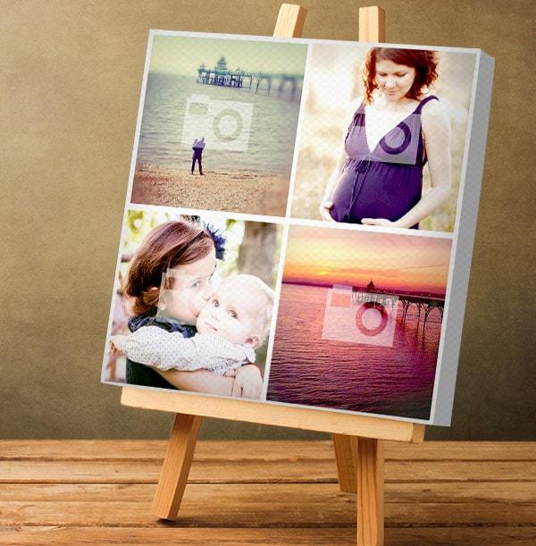 4 Photo Canvas Print - Square, White Border