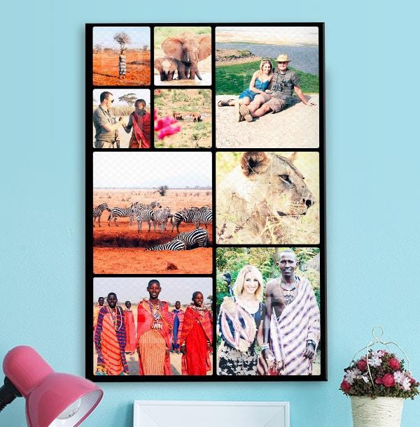 9 Photo Canvas Print - Portrait, Black Border