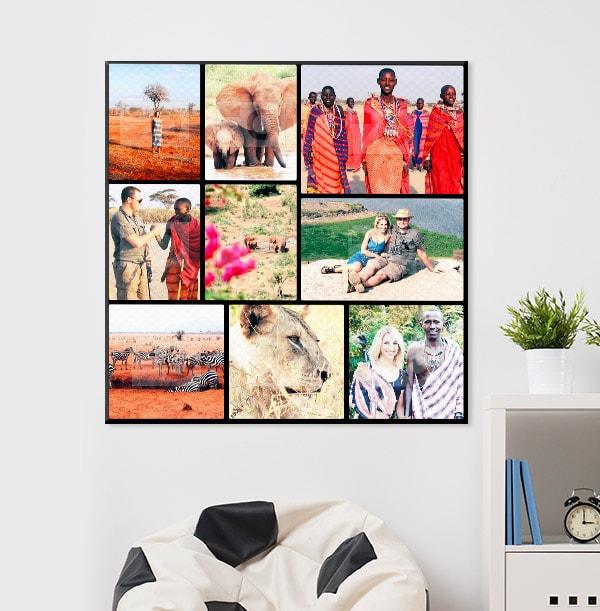 9 Photo Canvas Print - Square, Black Border