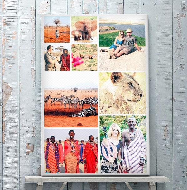 9 Photo Canvas Print - Portrait, White Border