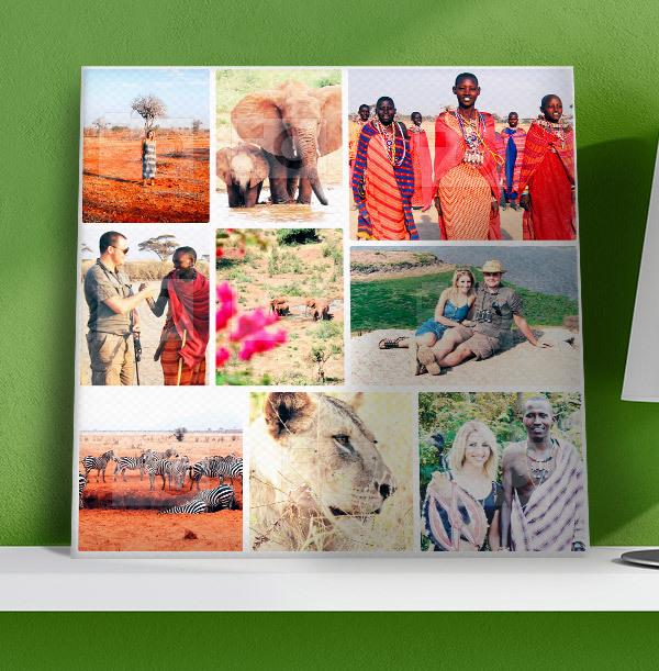9 Photo Canvas Print - Square, White Border