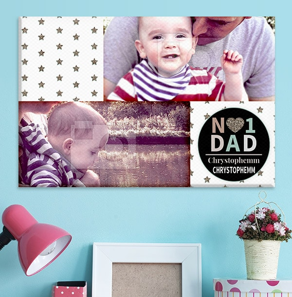 No.1 Dad Double Photo Upload Canvas - Landscape