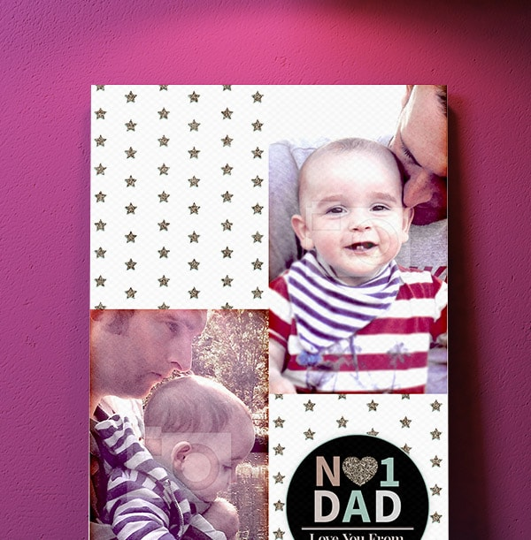 No.1 Dad Double Photo Upload Canvas - Portrait