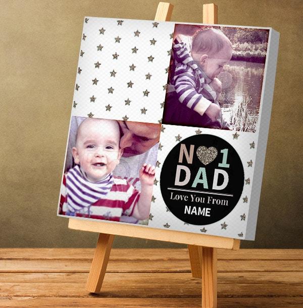 No.1 Dad Double Photo Upload Canvas - Square