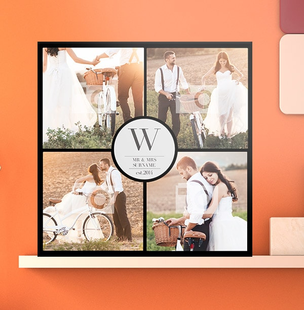 4 Photo Canvas Print with Text - Square, Black Border