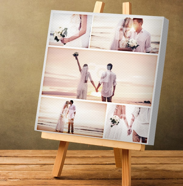 5 Photo Canvas Print with Text - Square, White Border
