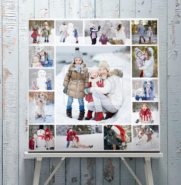 Christmas 15 Photo Collage Canvas Print - Square