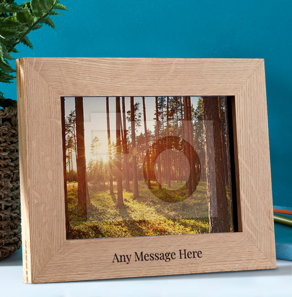 Any Text Personalised Wooden Photo Frame - Landscape