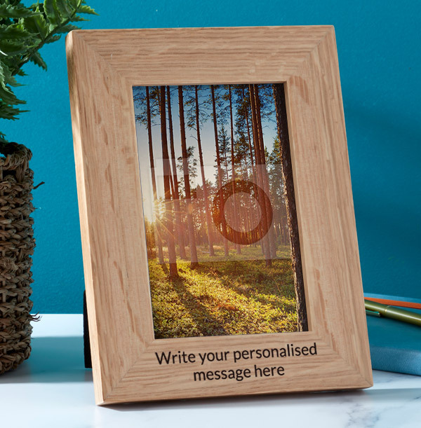 Any Text Personalised Wooden Photo Frame - Portrait - 2 Lines