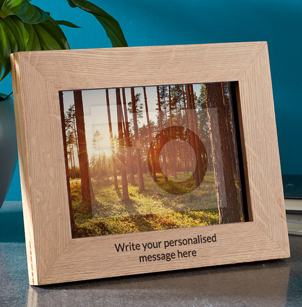 Any Text Personalised Wooden Photo Frame - Landscape - 2 Lines
