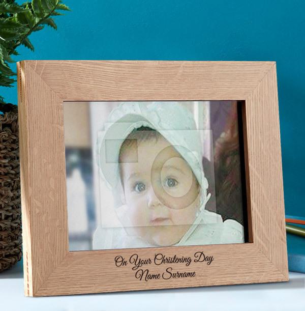 Christening Personalised Wooden Photo Frame - Landscape
