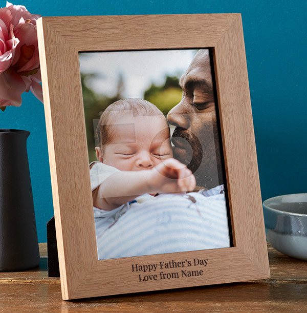 Father's Day Personalised Wooden Photo Frame - Portrait