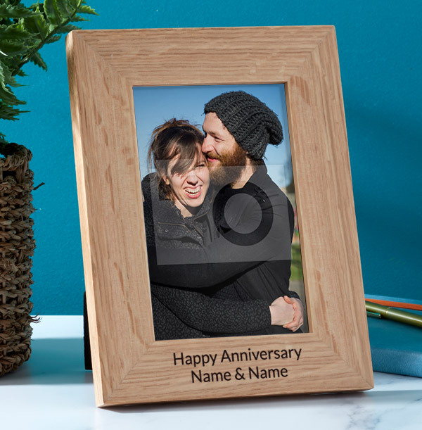 Anniversary Personalised Wooden Photo Frame - Portrait