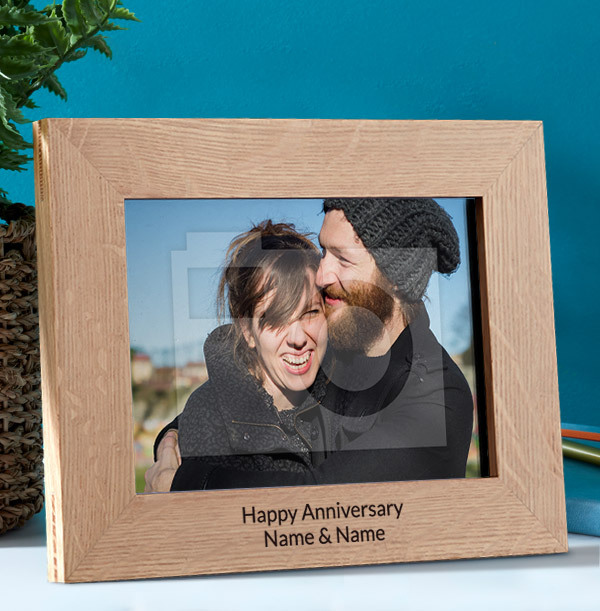 Anniversary Personalised Wooden Photo Frame - Landscape