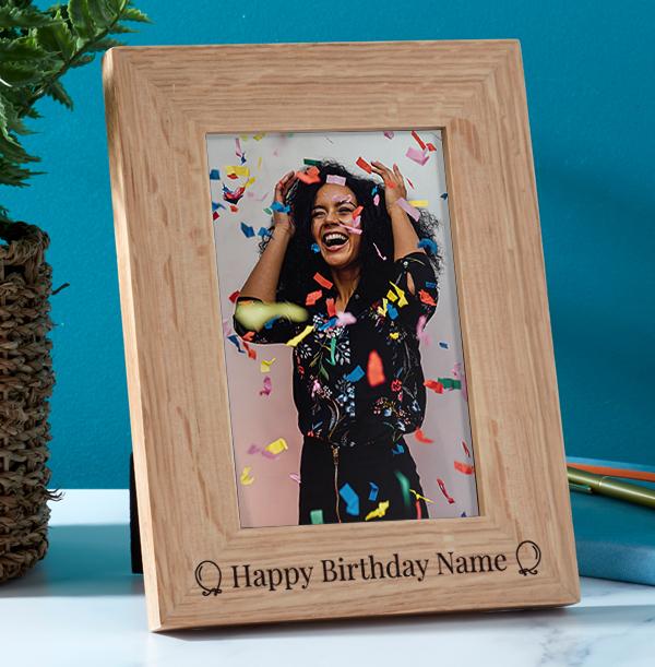 Birthday Personalised Wooden Photo Frame - Portrait