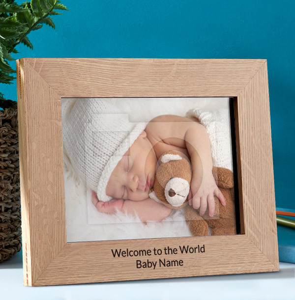 New Baby Personalised Wooden Photo Frame - Landscape