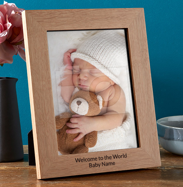 New Baby Personalised Wooden Photo Frame - Portrait