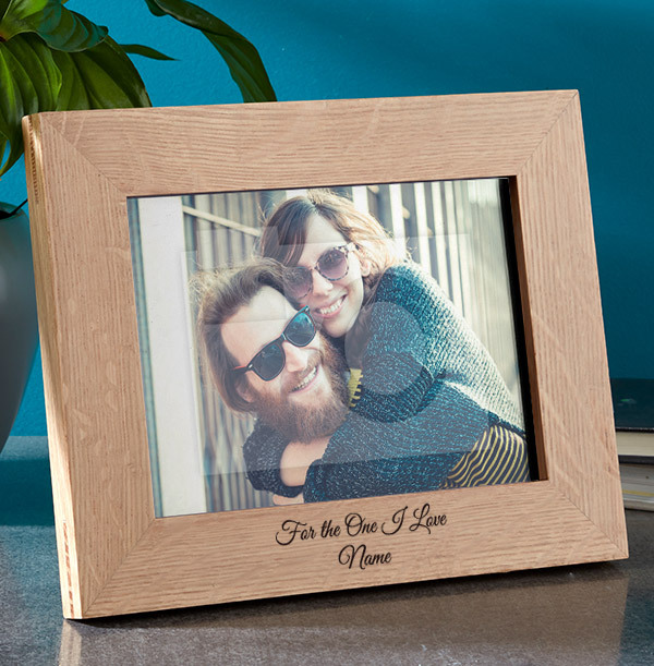 Romantic Personalised Wooden Photo Frame - Landscape