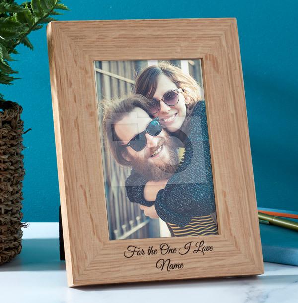 Romantic Personalised Wooden Photo Frame - Portrait