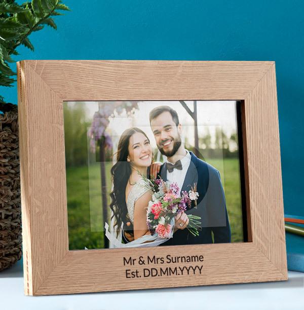 Wedding Personalised Wooden Photo Frame - Landscape