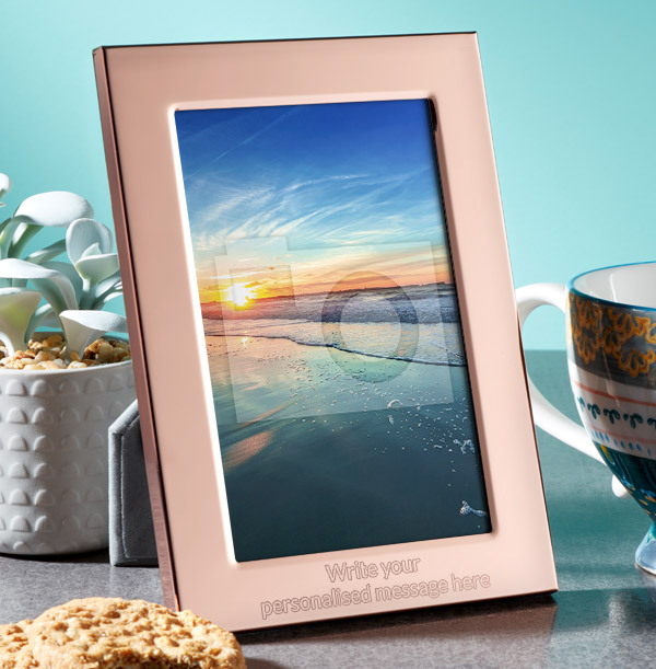 Any Text Personalised Metal Photo Frame - Portrait - 2 Lines