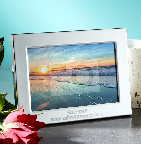 Any Text Personalised Metal Photo Frame - Landscape - 2 Lines