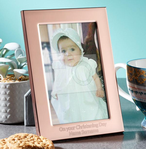 Christening Personalised Metal Photo Frame - Portrait