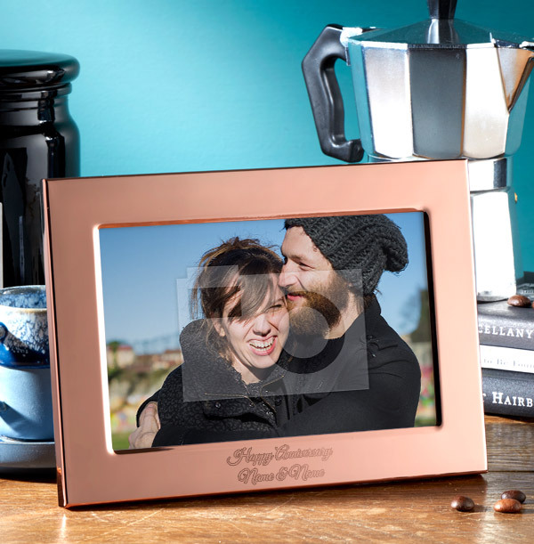 Anniversary Personalised Metal Photo Frame - Landscape