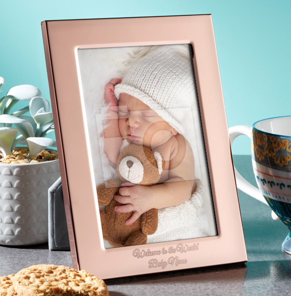 New Baby Personalised Metal Photo Frame - Portrait