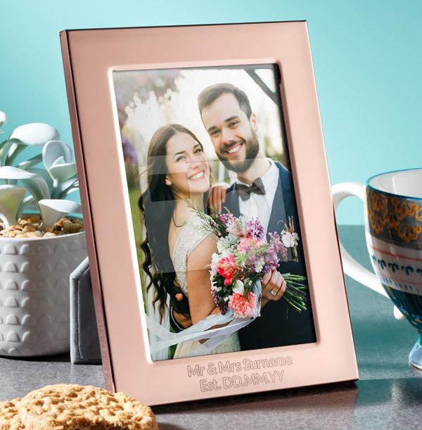 Wedding Personalised Metal Photo Frame - Portrait