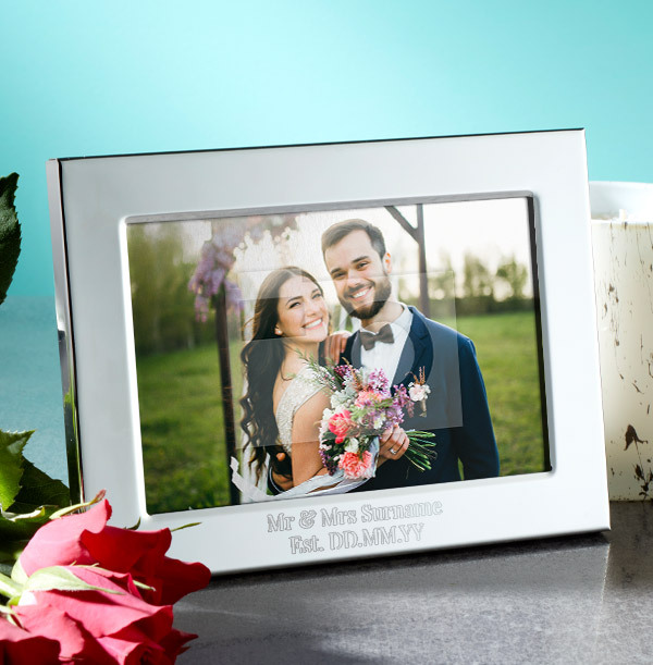 Wedding Personalised Metal Photo Frame - Landscape