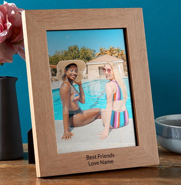Best Friends Personalised Wooden Frame - Portrait