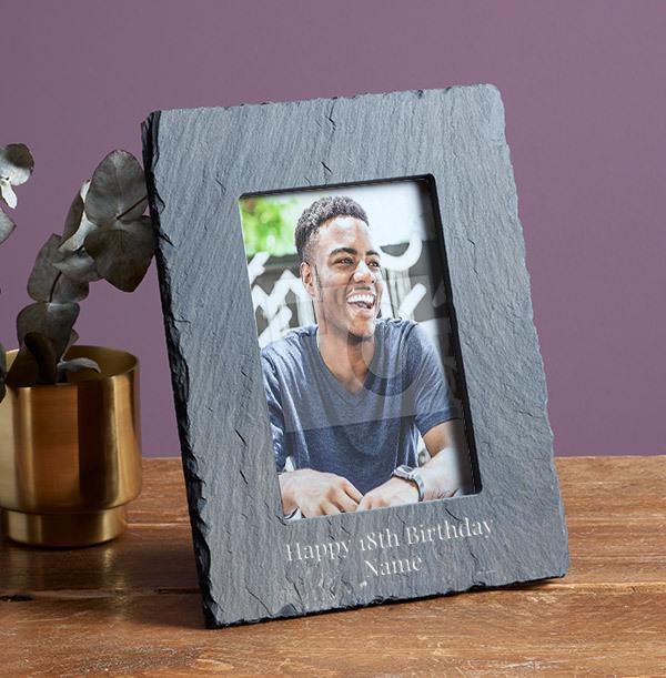 18th Birthday Personalised Slate Photo Frame - Portrait