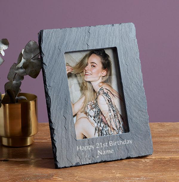 21st Birthday Personalised Slate Photo Frame - Portrait