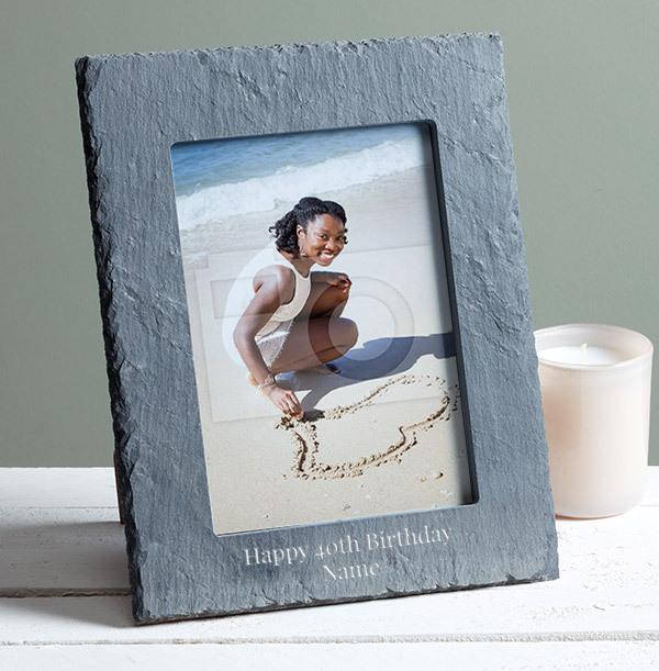 40th Birthday Personalised Slate Photo Frame -Portrait