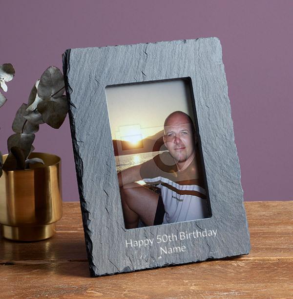 50th Birthday Personalised Slate Photo Frame - Portrait