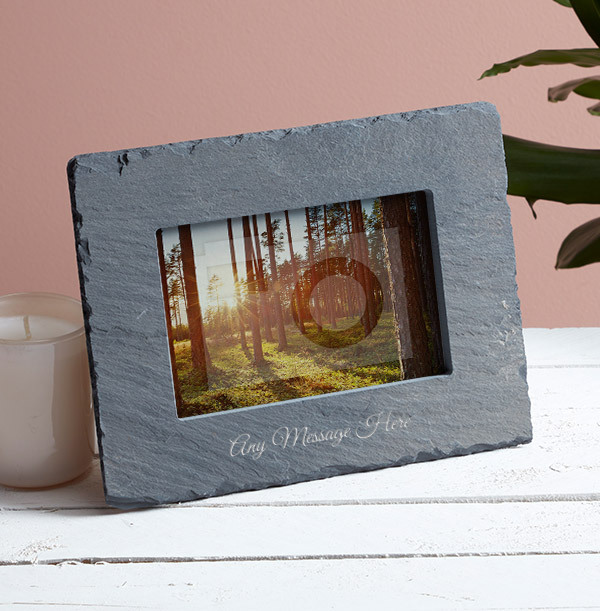 Any Text Personalised Slate Photo Frame - Landscape - 2 Line